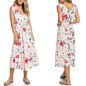 ROXY Floral In the Mood for Dance Midi Wrap Dress